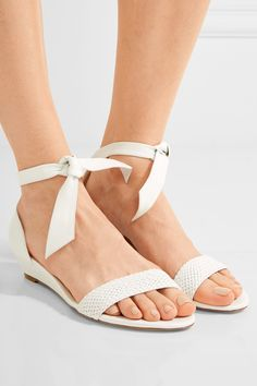 Wedge heel measures approximately 35mm/ 1.5 inches White leather Ties at ankle
