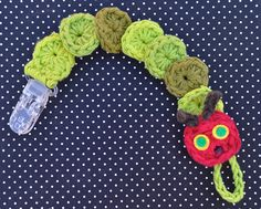Very Hungry Caterpillar Crochet Pacifier Clip by SimplyEverydayMe on Etsy