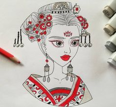 Used a reference from the Empress of China drama  #empressofchina #drawing #illustration #copicmarkers #penart #pendrawings #redandblackdrawing #girlillustration #empress #illuatrator #historicalillustration The Empress Of China, Pen Art, Digital Illustration, Drama, Illustrations, Drawings, Illustration, Sketches, Drama Theater