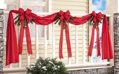 Christmas Ribbon & Bow Garland Hanging Xmas Porch Bunting Decor Indoor Outdoor for sale online Christmas Greenery, Christmas Door Decorations, Christmas Porch, Christmas Ribbon, Christmas Holidays, Xmas, Christmas Ornaments, Fence Decorations, Pallet Christmas