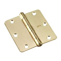 3-1/2 in. x 3-1/2 in. Brass Full Mortise Butt Hinge with 1/4 in. Radius