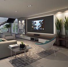 Sala em cinza e branco com tv na parede - Hüseyin Akman - Living Room Tv Unit, Living Room Modern, Home Living Room, Living Room Designs, Living Room Decor, Small Living, Living Tv, Home Theater Design, Home Interior Design