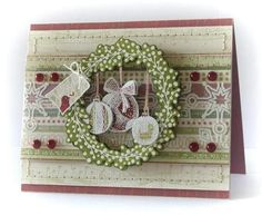 Hang small ornament stamped images from a wreath ;)