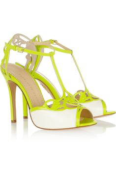 Charlotte Olympia | Tiffany neon leather sandals