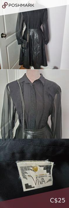 Vintage black sheer blouse sz S Blouse Vintage, Vintage Shirts, Vintage Tops, Vintage Black, Black Ruffle Skirt, Pleated Mini Skirt, Black Sheer Blouse, Long Blouse, Red Blouses