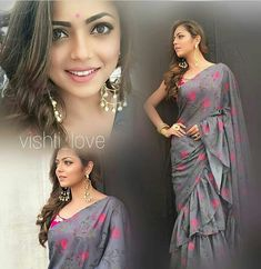 Saree Draping Styles, Saree Styles, Designer Silk Sarees, Indian Designer Wear, Indian Attire, Indian Outfits, Indian Wedding Makeup, Drashti Dhami, Elegant Saree