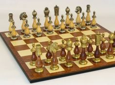 Chess sets from The Chess Piece chess set store: The Duo metal and wood chess set, Stylish Metal Chess Sets