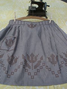 Vintage Apron - Brown Gingham Embroidery. $10.00, via Etsy.