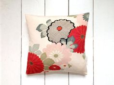 Red Vintage Japanese Kimono Fabric Pillow Cushion by LynnWatt