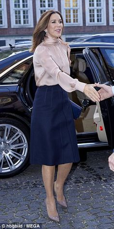 On Thursday, the 45-year-old Danish royal looked effortlessly elegant as she arrived at Dansk Erhverv, a business agency and CSR conference in Copenhagen