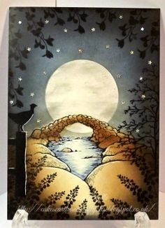 Starry Night Sky - Karen Liddle Beautiful Entries for Lavinia Stamps challenge theme Star gazing