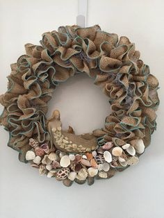 Mermaid Wreath with shells  mermaid natural burlap light