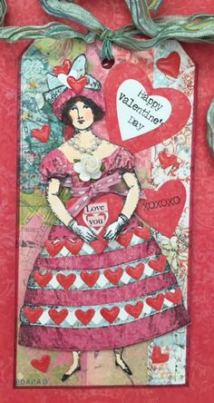 Character Constructions January 2017 Tag Swap:  Valentine.  Made with stamps designed by Catherine Moore.
