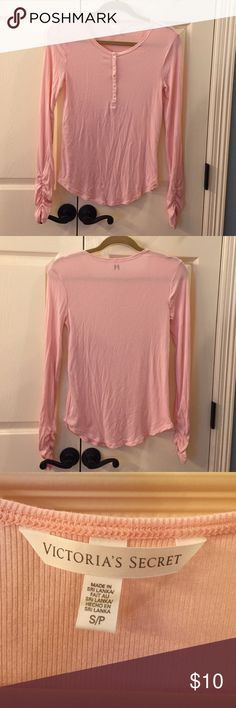Victoria's Secret Henley EUC Super soft and lightweight henley. Long sleeves. Ruched at end of sleeve. No flaws. Only worn once. Victoria's Secret Tops Blouses