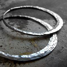 hammered sterling silver hoop earring