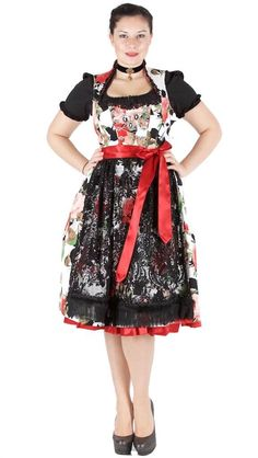 Tramontana Dirndl midi weiss rot Vintage, Style, Fashion, Dirndl, Floral Patterns, Red, Swag, Moda, Fashion Styles