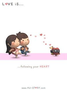 Love Is. Illustrations from HJ-Story Hj Story, Cute Love Stories, Love Story, What Is Love, My Love, Love Facts, Cartoons Love, Couple Cartoon, Chibi Couple