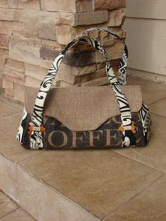 Coffee Bag Purse ~ inspiration not so much for the fabric but do like the longer strap style with the smaller bag ....... can see this in a lot of different fabric texture and colour combos