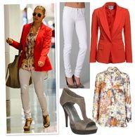 Fergalicious in red blazer, white jeans, and aviators