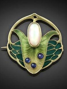 Art Nouveau Plique-à-Jour Enamel, Opal, Sapphire, and Gold Leaf Brooch (c1890) by Theodor Fahrner