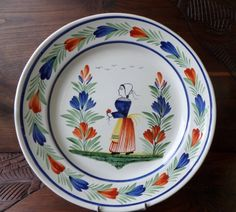 Vintage French HB Quimper Very Large Plate With Hand Painted Petit Breton Peasant Women Holding Flower Bouquet by pentyofamelie on Gourmly