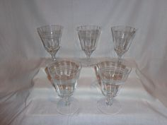 Vintage Glass Optic Cut Etched Band Footed Ice Tea Parfait Glasses (5)