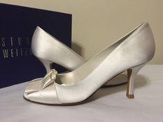 Stuart Weitzman Gigiritz White Satin Women's Dressy Evening Heels Pumps 6.5 N #StuartWeitzman #FashionDressyEveningHeelsPeepToePumps #BridalorWeddingFormalEvening