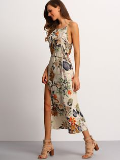 Online shopping for Spaghetti Strap Floral Dress BEIGE MULTI from a great selection of women's fashion clothing & more at MakeMeChic.COM.