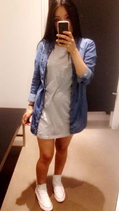 d2ba73ad0f9 Denim shirt Tshirt dress white high top converse Casual outfit  experez  High Top Converse Outfits