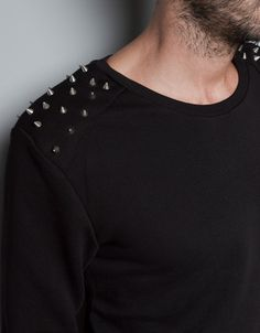 SWEATSHIRT WITH STUDS - ZARA