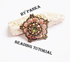 Beading pendant tutorial. Beading pattern. How by Soutachebypanka