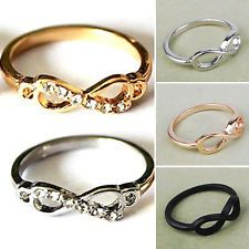 Women Fashion Punk Rock Infinite Infinity Bowknot Charms Finger Ring Rings Gift