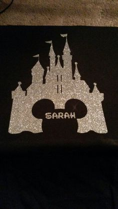 Magic Kingdom Shirts. Vinyl, heat press, silver glitter with Mickey head outline.