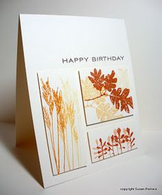 handmade birthday card ... Simplicity: Design Tutorial on how to create Rectangle Cards ... luv the fall colored stamping os wheat a leaves on the three rectanglular panels .. clean and simple design ... great card!!