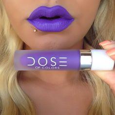 """I am LOVING this @doseofcolors loquid matte lipstick in """"purple rain"""""""