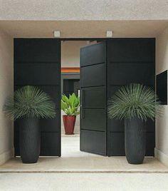 Big pots frame entrance with ferns