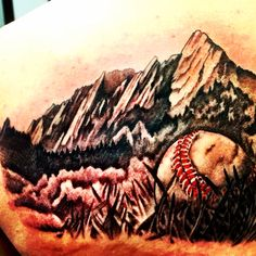 Colorado tattoo. Flatirons Mountains and baseball. When you're out on your own, remember where you're from.