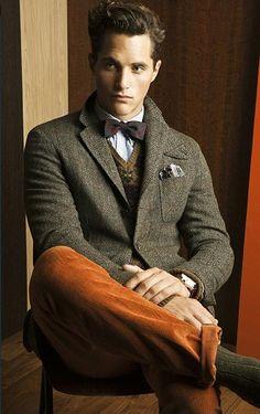 style british universitaire (preppy) tweed et velours