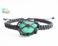 Malachite bracelet macrame bracelet Malachite jewelry by SabarArt Macrame Jewelry, Macrame Bracelets, Festival Bracelets, Festival Fashion, Festival Style, Malachite Jewelry, Micro Macrame, Tie Knots, Burning Man