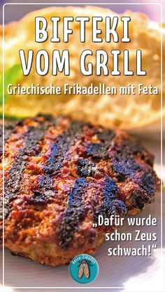 Bifteki from the grill - Greek meatballs with feta - Mediterrane Küche - Greek Recipes Feta Grill, Bbq Grill, Barbecue, Grilling, Healthy Eating Tips, Healthy Nutrition, Greek Recipes, Meat Recipes, Grill N Chill