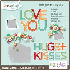 Designer Spotlight & Daily Download 11/20/16 - Gotta Pixel Digital Scrapbooking Store :: Making Memories #5 Mix & Match Templates by HeartStrings Scrap Art
