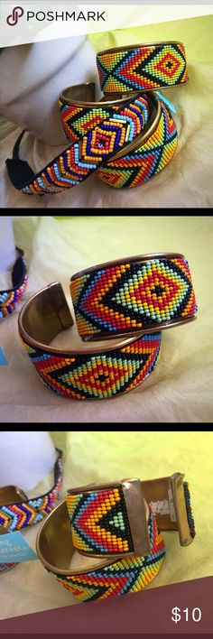 Cool Gypsy Aztec Beaded Wide Cuff Bracelet Bright and colorful standout pieces!  Boho gypsy seed bead wide Cuff bracelets with a Southwestern flair.  These are past season stock from Nordstrom and may show some surface wear or marks.  Price firm unless bundled.  Gorgeous Bohemian matching look headband sold separately in my closet. Nordstrom Jewelry Bracelets