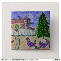 Shop First outdoor Christmas Tree! Button created by mountainbirds. Outdoor Christmas, Christmas Tree, My Design, Birds, Fantasy, Button, Cute, Teal Christmas Tree, Xmas Trees