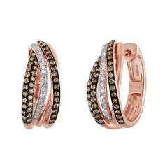 EFFY® 3/4 ct. tw. Brown & White Diamond Hoop Earrings in 14K Rose Gold