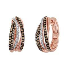 EFFY® 3/4 ct. tw. Brown & White Diamond Hoop Earrings in 14K Rose Gold