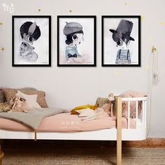 Animals Cat Girl boy A4 Art Prints Poster Nursery Wall Picture Canvas Painting Kids Room Decor No Frame #Affiliate