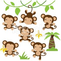 Cute monkey vector illustration royalty-free stock vector art