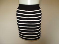Ann Taylor Loft Size L Black & White Striped Knee Length A-Line Knit Skirt LN #AnnTaylorLOFT #ALine