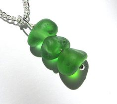 Seaglass Jewelry Beach Glass Necklaces   Green by GardenLeafDesign, $26.00