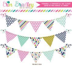 Pink Blue Gold Banner Flag Clipart – Erin Bradley/Ink Obsession Designs